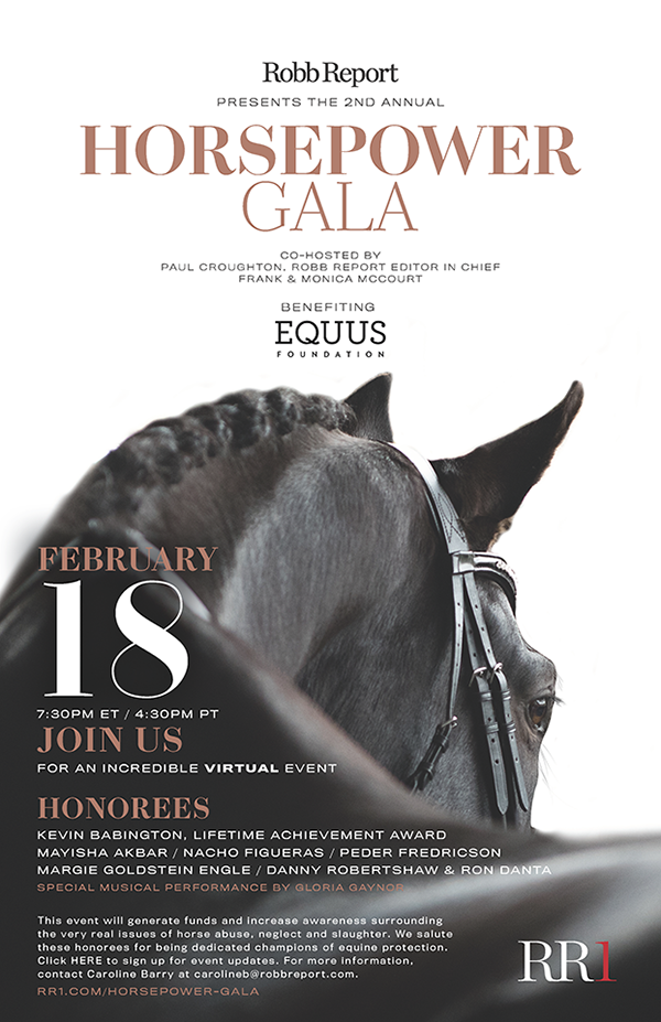 Join us! Thursday, Feb. 18 - 7:30 pm! Robb Report's Horsepower Gala & Auction
